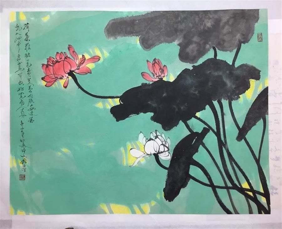 藝術家許文融的油畫《荷塘按清香》(台中市府文化局提供/陳淑芬台中傳真)。