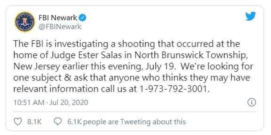 美國聯邦調查局FBI也已介入調查,呼籲知情者提供線索。(圖/Twitter)