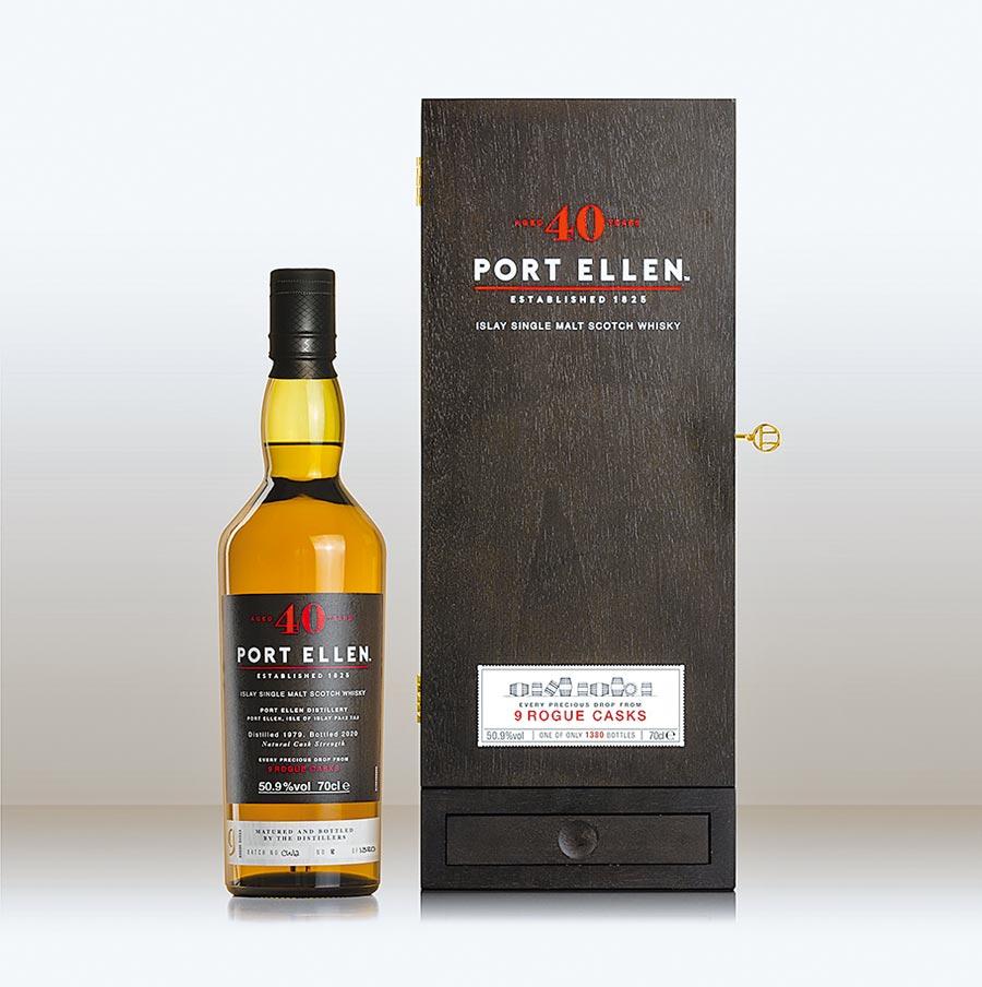 「PORT ELLEN 絕響風味系列第二章─40年單一麥芽威士忌原酒」限量上市,為酒廠至今推出最高年份的酒款。圖/業者提供