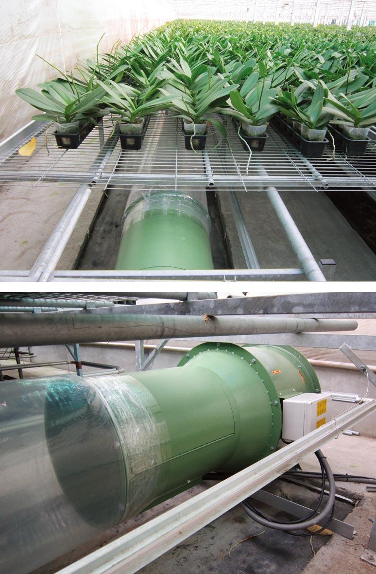 永電「高效率超導熱加溫機」運用於在蘭花花房暖室的使用實例。圖/永電提供