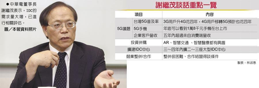 中華電董事長謝繼茂表示,IDC的需求量大增,已進行相關評估。圖/本報資料照片  謝繼茂談話重點一覽