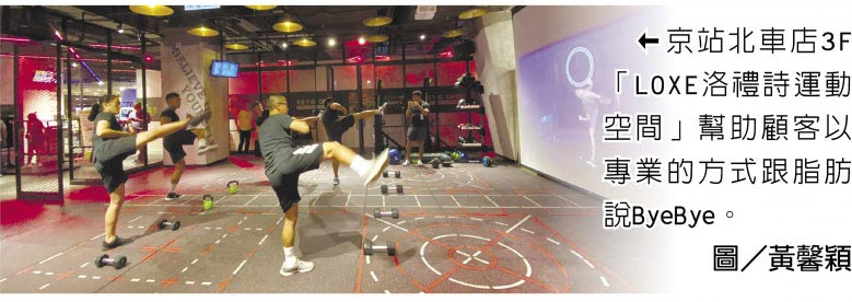 京站北車店3F「LOXE洛禮詩運動空間」幫助顧客以專業的方式跟脂肪說ByeBye。圖/黃馨穎