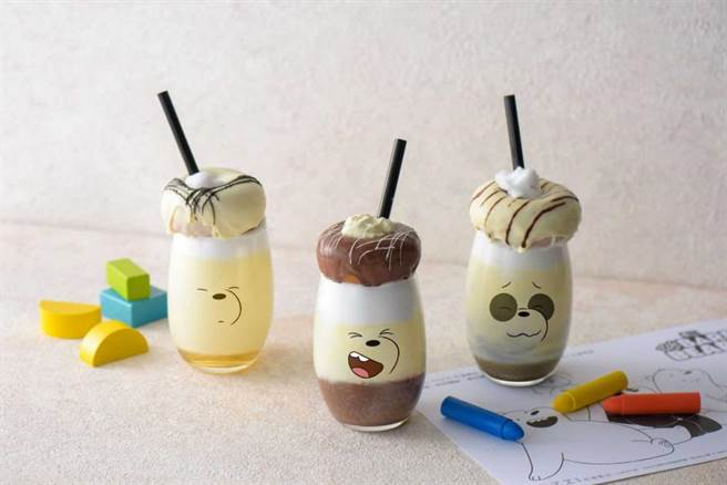 以卡通界最萌熊熊兄弟檔為題所設計的多款飲品。(圖片提供/HOTEL COZZI和逸飯店.台南西門館)