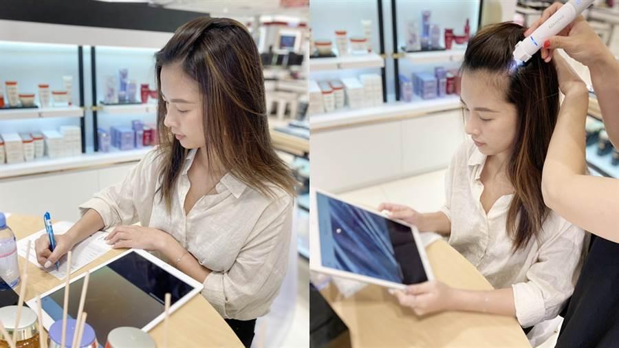 檢測項目包含頭皮的青春度和秀髮的青春度,共分成6個小項目評估。(圖/邱映慈攝影)