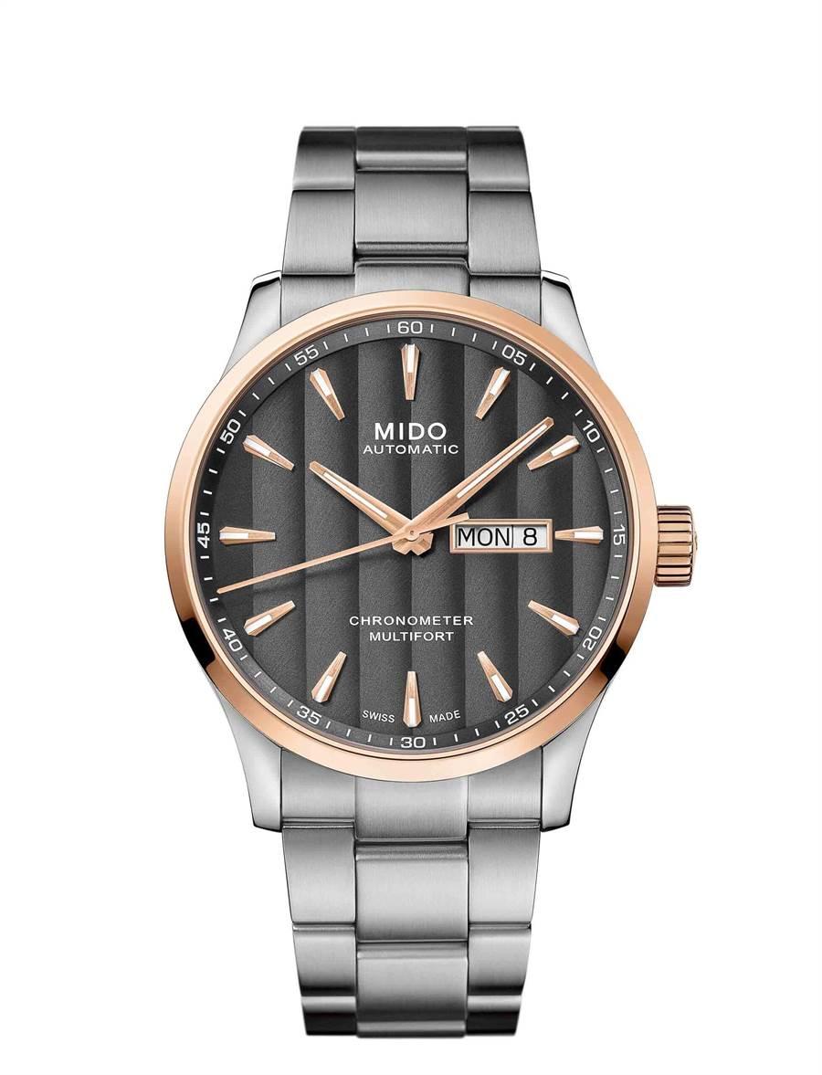 MIDO Multifort Chronometer1先鋒系列天文台認證矽游絲腕表,4萬3200元。(MIDO提供)
