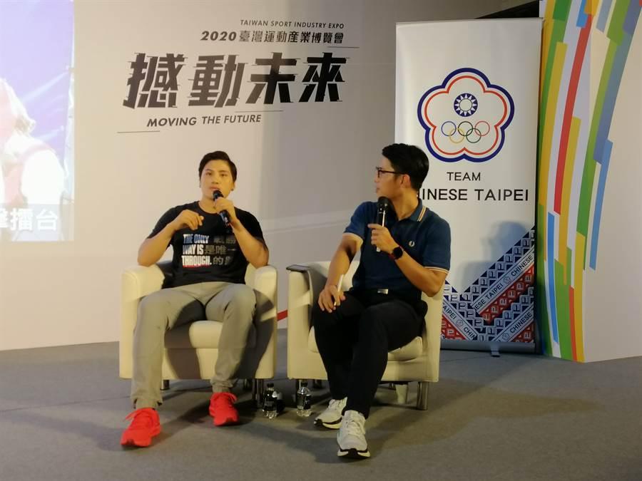 「拳擊女王」陳念琴在運動產業博覽會的講座上,分享屬於她的運動人生。(中華奧會提供)