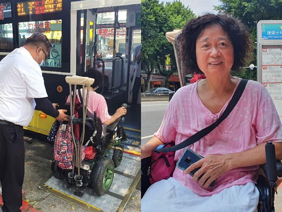 曹小姐將暖司機主動協助上車的過程Po版,網友大讚最美風景。(照片/游定剛 拍攝)