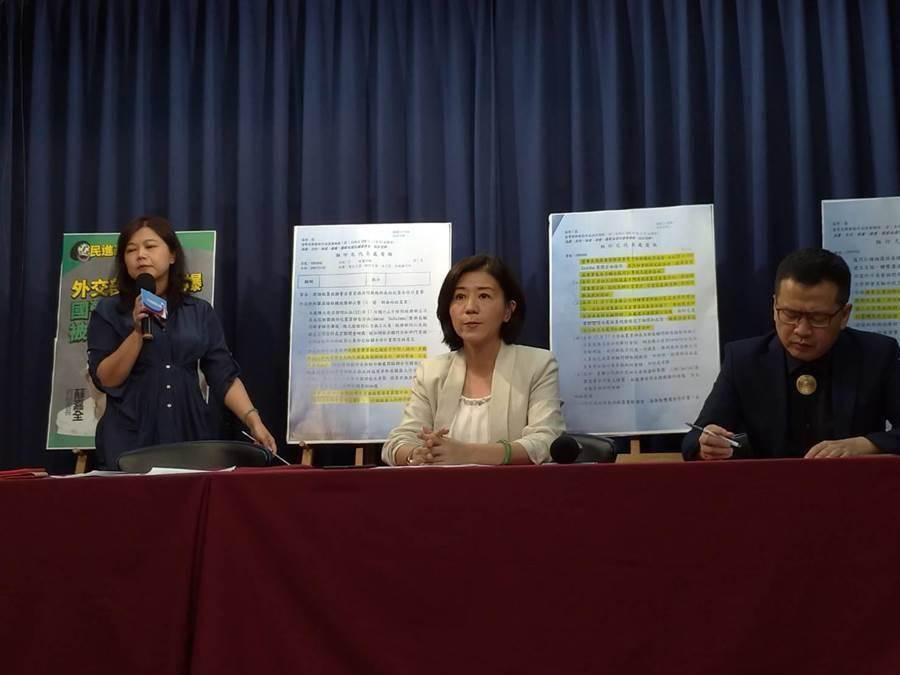 游淑慧(左起)、王育敏、羅智強連日開記者會。(黃福其攝)