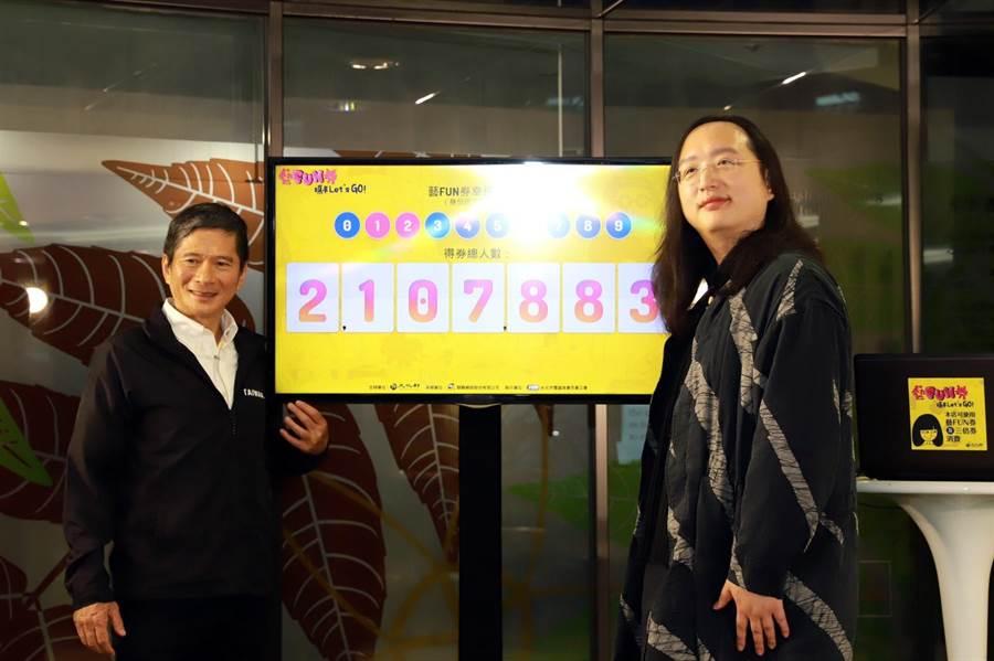 文化部長李永得(左)及行政院政務委員唐鳳(右)直播抽出藝FUN券得主。(文化部提供)