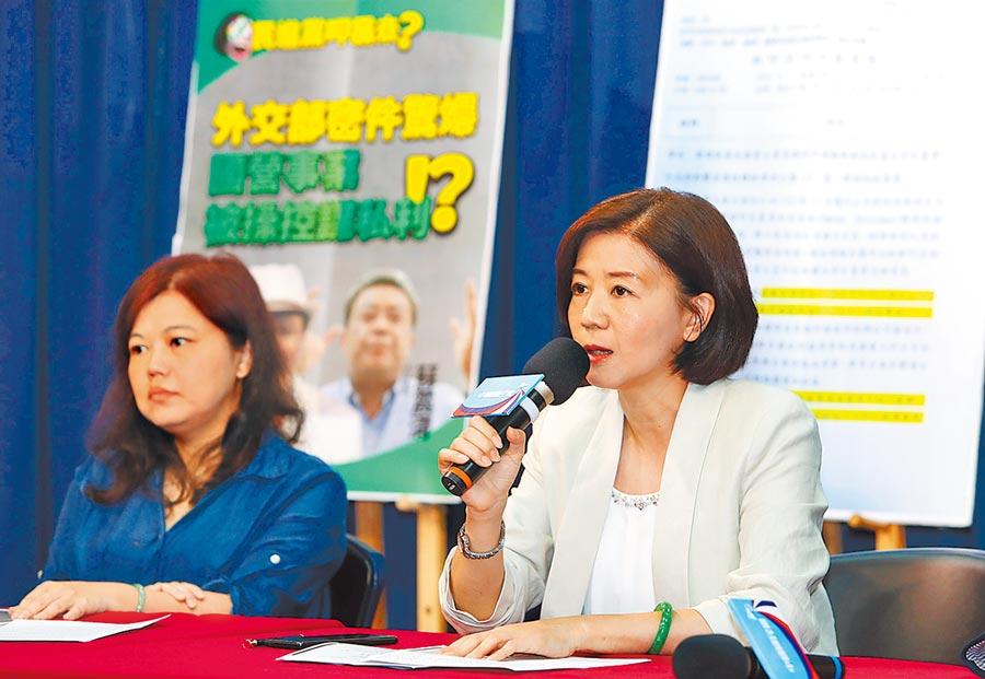 國民黨文傳會主委王育敏(右)公布綠營要角把持國營事業,甚至在國外遂行私利之離譜情況,令人髮指。(季志翔攝)
