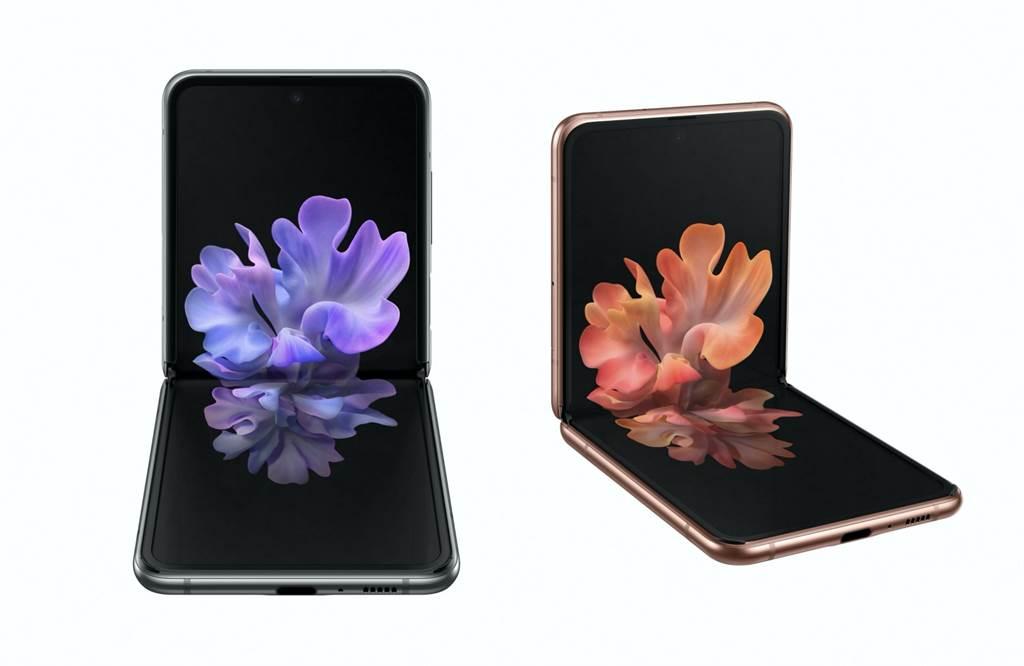 三星Galaxy Z Flip 5G正式發表,提供灰色(Mystic Gray)與銅色(Mystic Bronze)兩款顏色。(三星提供/黃慧雯台北傳真)