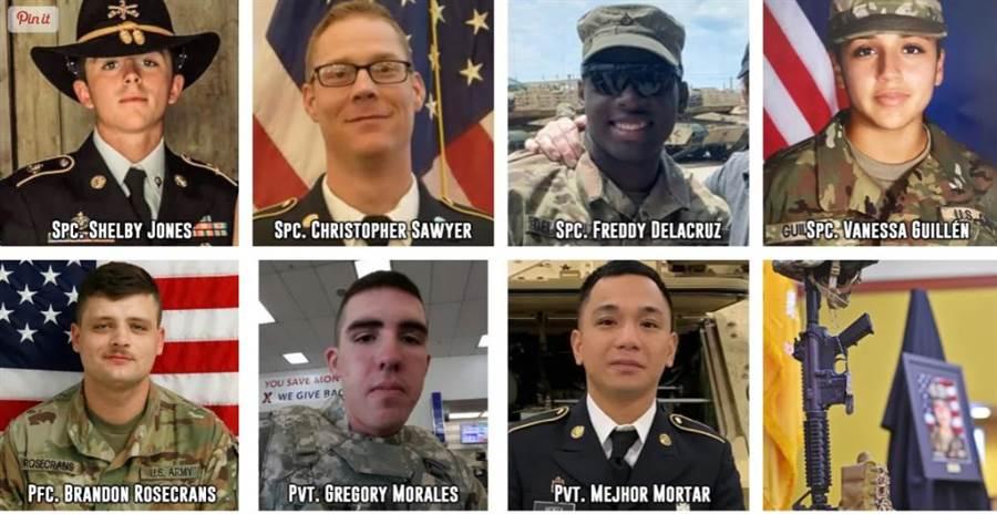 今年到目前為止,美國陸軍胡德堡基地死亡的7名士兵。(圖/task and purpose)