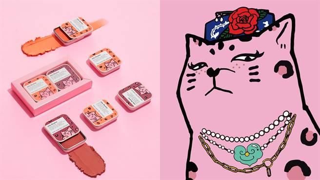 too cool for school和超可愛的法國貓「如意 RuRu」推出聯名美妝。(圖/品牌提供)