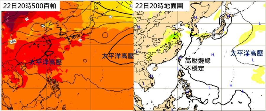 歐洲模式顯示,22日20時500百帕高空圖顯示,籠罩台灣的是中層的「太平洋高壓」(左圖);22日20時地面圖則顯示,台灣在低層「太平洋高壓」西緣的「不穩定」大氣裡(右圖)。(圖擷自吳德榮專欄)
