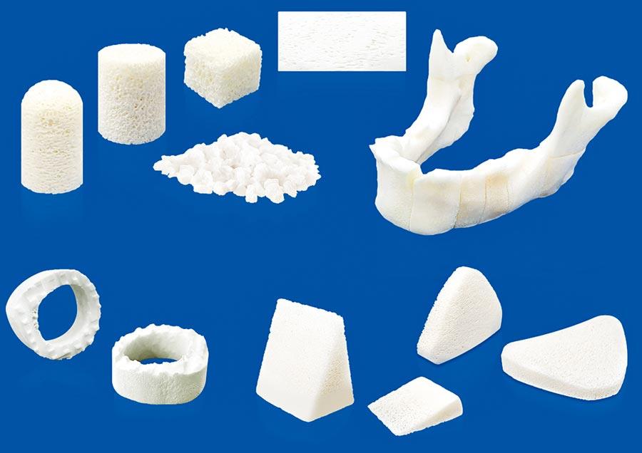 亞果生醫以生醫級膠原蛋白所開發的各款「骨基質」。圖/亞果提供