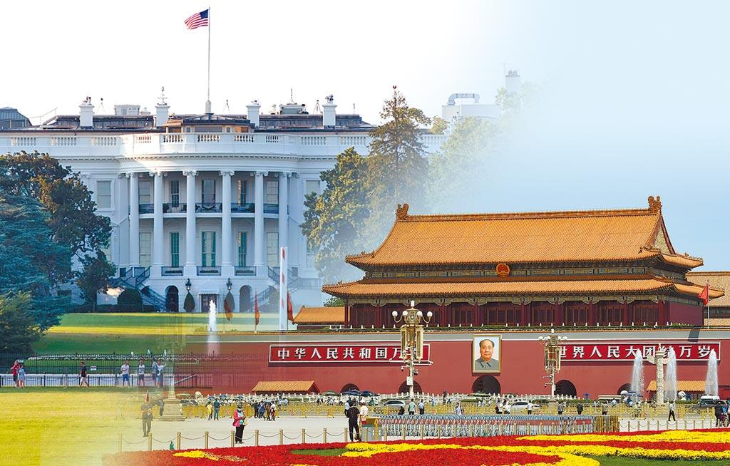 中美開啟駐館外交戰,對抗持續升級。圖為設計畫面,左為白宮,右為天安門。(中新社、新華社)