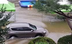 影/釜山也淹了!市區湧出「湍急黃泥流」車滅頂水淹公車 3死1失蹤