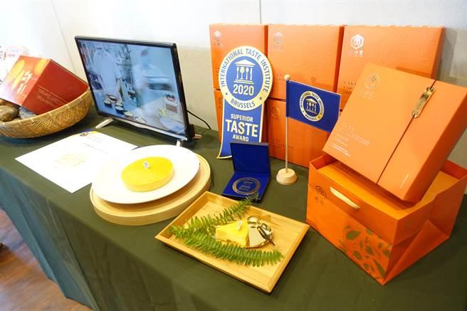 雲林縣虎尾虎珍堂「憨吉濃濃乳酪蛋糕」摘下比利時風味評鑑大賞 ITQI(International Taste Institute)一星評鑑,成為第一顆躍上國際的台灣地瓜。(許素惠攝)