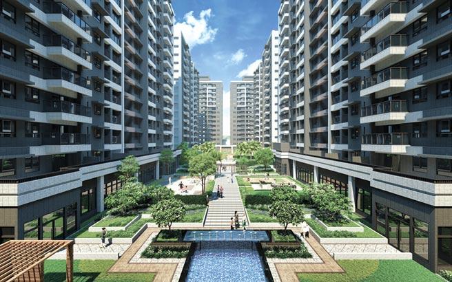 1字頭首購就位,遠雄台中港重劃區造鎮案「遠雄之星」寬闊中庭規模,媲美台中七期豪宅圈綠園道。圖/業者提供