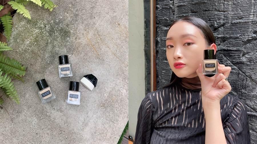 植村秀無極限系列底妝推出「全新光澤小方瓶」無極限光澤水粉底。(圖/邱映慈攝影)