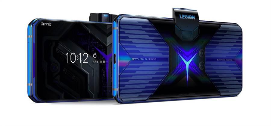 Lenovo Legion Phone Duel採用升降2000萬像素前置相機鏡頭,可進行遊戲直播,更內建去背、修飾濾鏡等功能。(Lenovo提供)