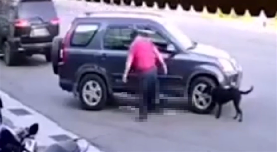 紅衣男輾2次小黑狗後,下車又踹了一腳,最後不治死亡,影片流出網友氣炸炮轟。(圖/翻攝自臉書社團基隆人)