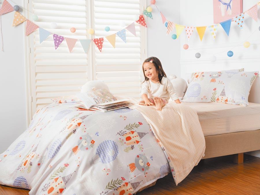 HOLA兒童專屬寢具、枕頭、被胎、睡袋等,皆具抗菌防 L功效。(HOLA提供)