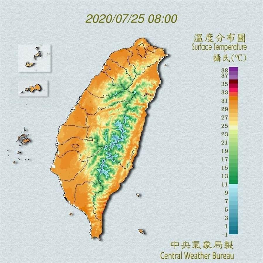 今天台灣各地大多為多雲到晴,但由於太平洋高壓勢力稍微減弱,降雨的範圍將比昨天擴大一些。(翻攝自中央氣象局/林良齊台北傳真)