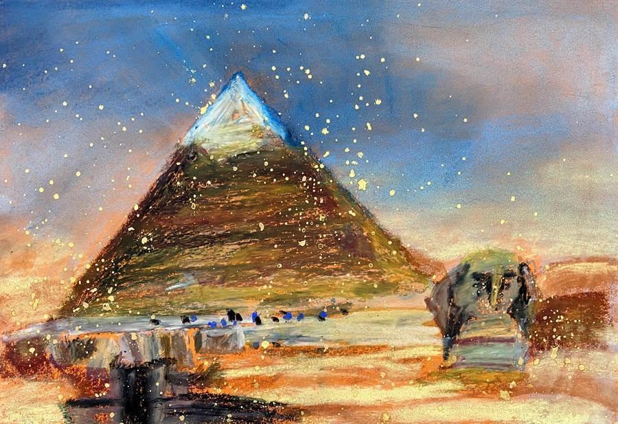 林奈美的作品包羅萬象,近期畫了埃及金字塔等外國知名地標。(程彩玲提供)