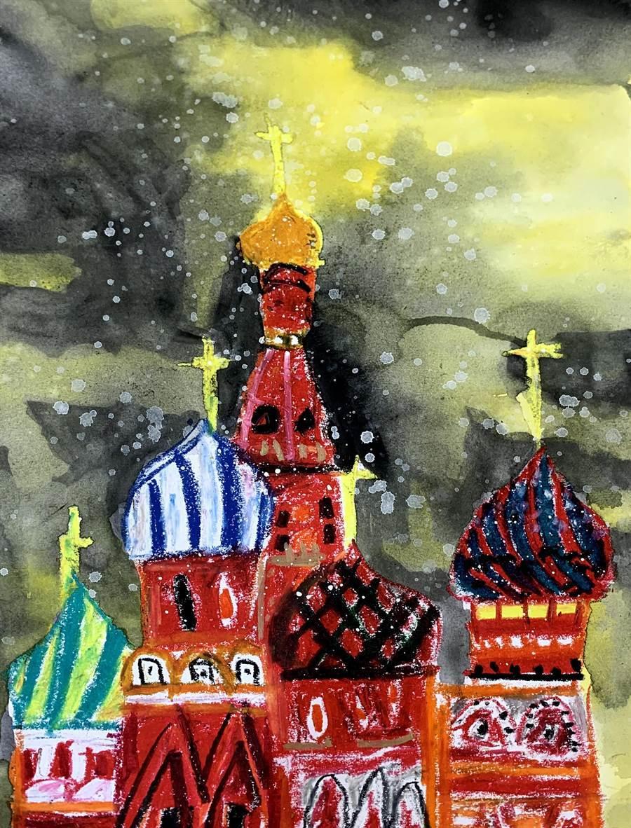 林奈美的作品包羅萬象,近期畫了俄羅斯教堂等外國知名地標。(程彩玲提供)