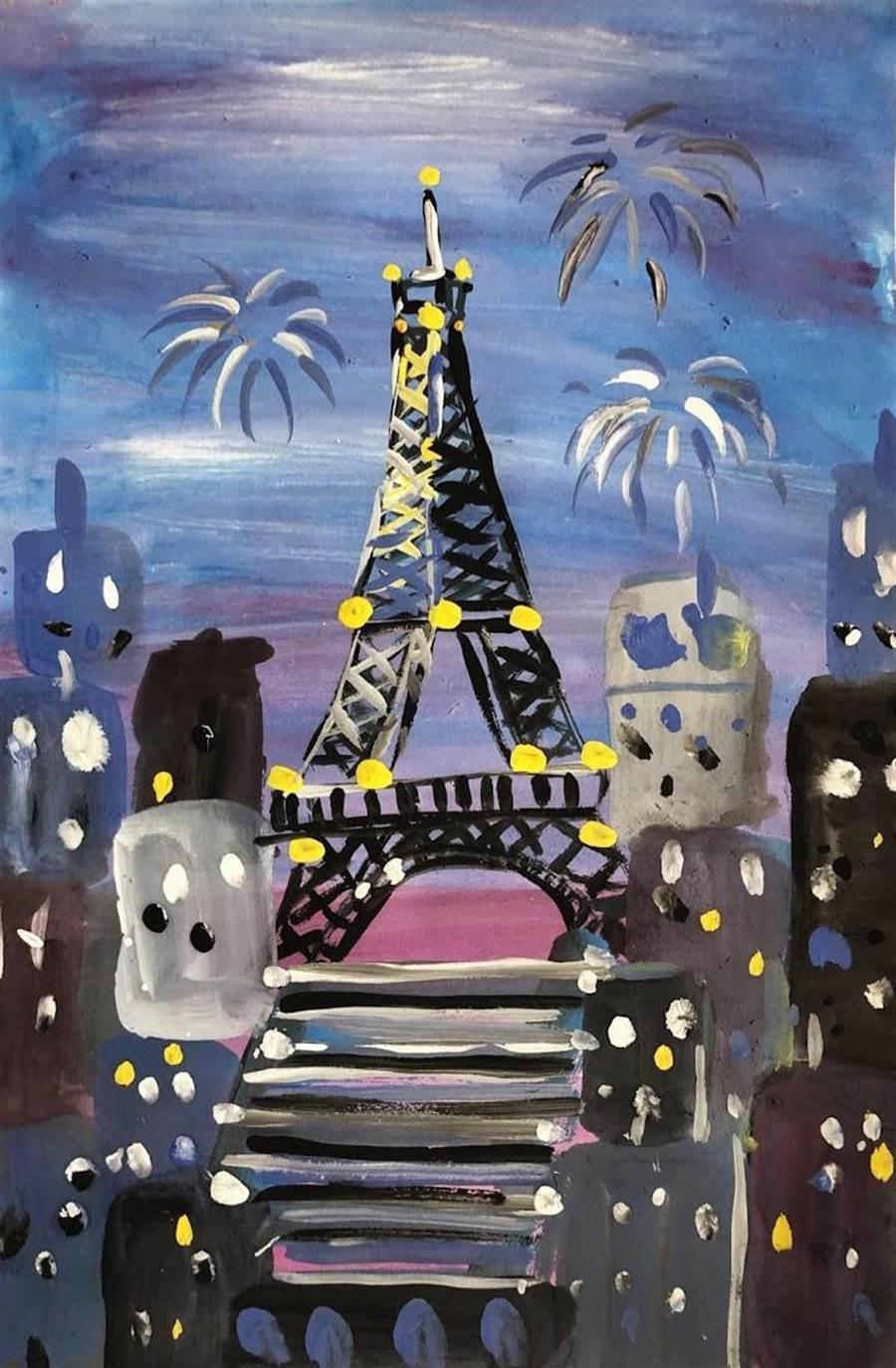 林奈美的作品包羅萬象,近期畫了巴黎鐵塔等外國知名地標。(程彩玲提供)