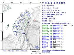 全台有感!20:52東部海域規模6.1地震 最大震度花蓮4級