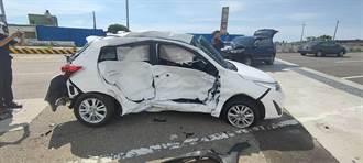 台1線通霄段兩車撞擊嚴重 車輛損毀3人受傷