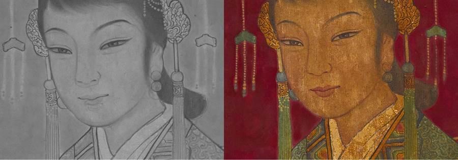 台南藝術大學修復團隊以紅外光檢測永安宮左次間「宮娥」,發現原先構圖與最後呈現方式不同。(台南市文資處提供/劉秀芬台南傳真)