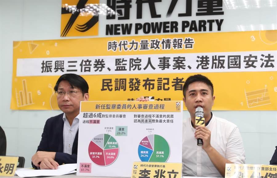 時代力量智庫26日公布民意調查結果,時代力量主席徐永明(左)與時代力量智庫執行長李兆立(右)表示,61.7%民眾對監察院人事審查不滿意對結果也有疑慮,53.3%對陳菊是否能超越黨派沒信心;53.1%民眾對港版國安法通過,認為會影響未來去香港的意願;對於台灣對抗中國的準備51%表示有信心,對台灣與中國的關係仍有54.6%民眾表示維持現狀 ;70.4%民眾表示領取三倍券過程方便,但三倍券與安心旅遊補助方案加乘效果不明顯;49.5%民眾認為行政院長蘇貞昌女兒蘇巧純基於利益迴避,不應投標政府標案。(鄭任南攝)