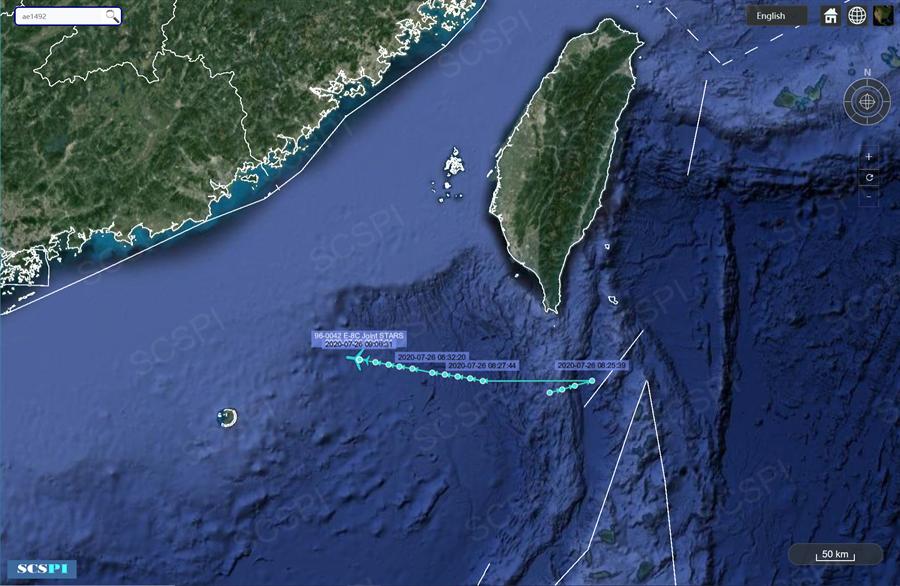 當解放軍在雷州半島以西進行實彈打靶演習警告美軍之際,美方於25、26日接連兩日持續派遣偵察機在南海靠近廣東的海域進行偵察與收集戰場資訊,這是7月以來在大陸沿海進行軍機偵察的第12次。圖為26日美空軍E-8C戰管偵察機在南海的航行路線圖。(圖/SCS Probing Initiative)