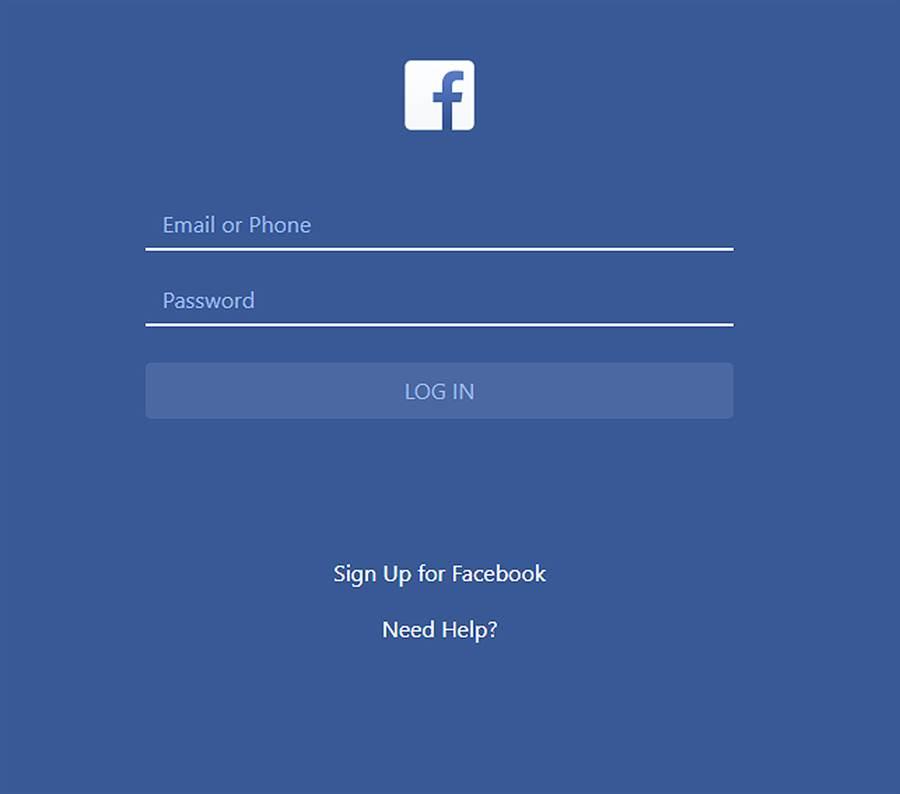 釣魚網站的外觀跟臉書介面設計十分相像。(圖/擷取自釣魚網站)