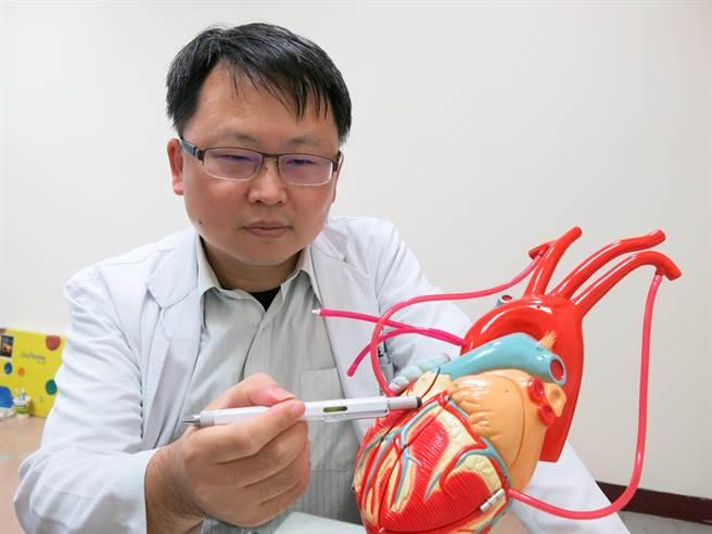 豐原醫院心臟內科醫師說明心導管支架手術救回急性心肌梗塞患者。(陳淑娥攝)