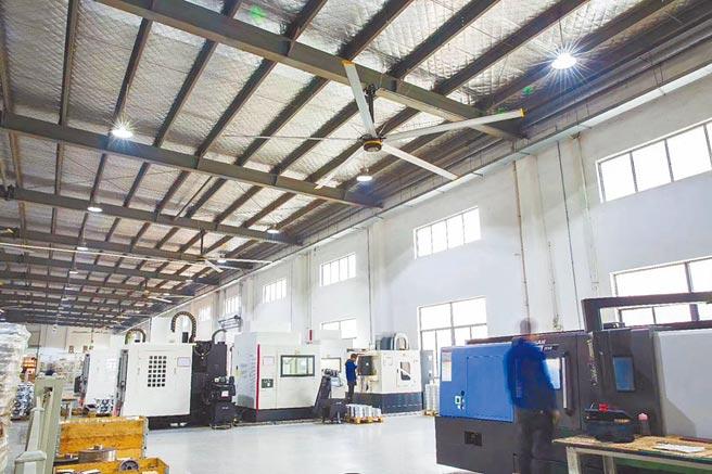 科莱斯风悦Ⅲ系列大风扇应用在加工业厂房中使用。图/业者提供