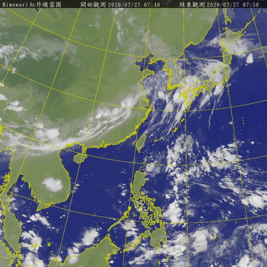 終於有颱風了 吳德榮:這兩天恐有熱帶擾動發展。(氣象局 衛星雲圖)
