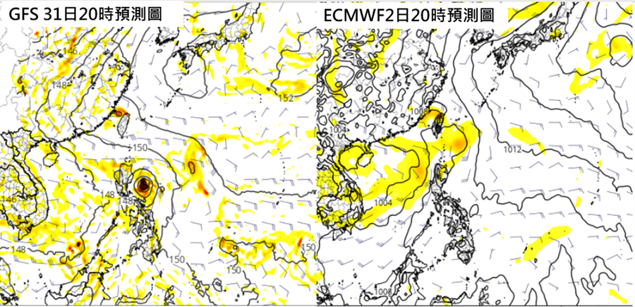 左圖為最新(26日20時)美國(GFS)模式第5天(7月31日)模擬,顯示呂宋島東方有「熱帶擾動」發展,強度較強。  右圖為歐洲(ECMWF)模式第7天(8月2日)模擬,台灣東南方有熱帶擾動,強度較弱。(翻攝自「三立準氣象· 老大洩天機」/圖擷自tropical tidbits)