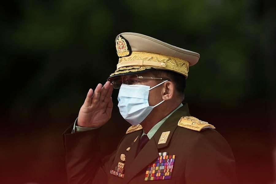 緬甸國防軍總司令敏昂萊罕見地公開批評大陸支持緬甸的反政府武裝力量。(圖/美聯社)