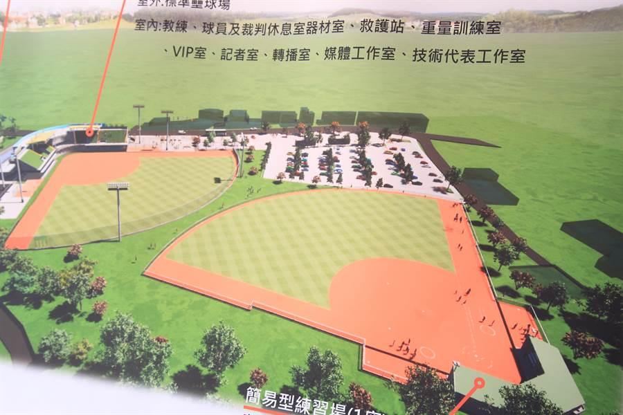 全台第一座國際壘球運動園區27日舉行動工典禮,預計明年底完工。(台中市政府提供/陳淑娥台中傳真)