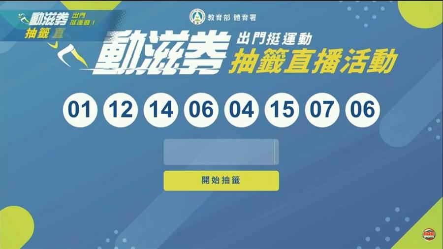 動滋券抽籤公布!有8組號碼快來對獎。(圖/截取自教育部體育署直播)