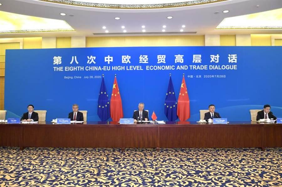 7月28日,中共中央政治局委員、國務院副總理劉鶴與歐盟委員會執行副主席東布羅夫斯基斯共同以視訊會議形式主持第八次中歐經貿高層對話。(新華社照片)