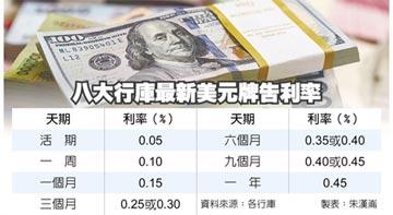 行庫美元利率 一年期剩 0.45%