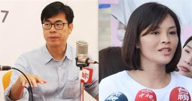 民進黨高雄市長補選候選人陳其邁(左)、國民黨候選人李眉蓁(右)。