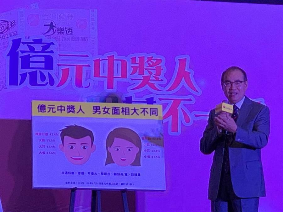 彩券總經理蔡國基:億元富翁男多半大眼大嘴、女多半小眼小嘴。(圖/黃惠聆)