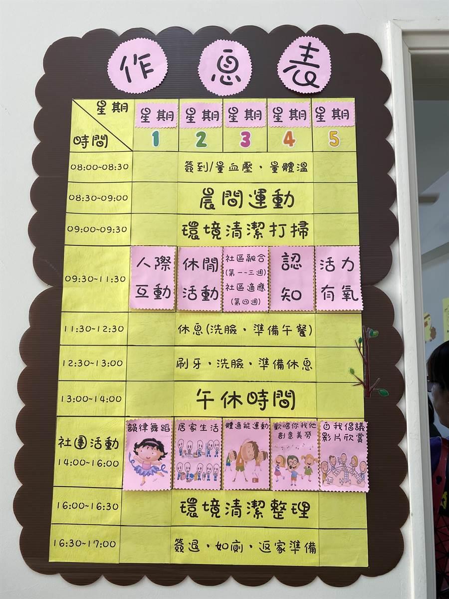 竹南鎮身心障礙者社區式日間服務據點29日揭牌啟用,每周一至周五提供日間8小時服務,圖為作息表。(巫靜婷攝)