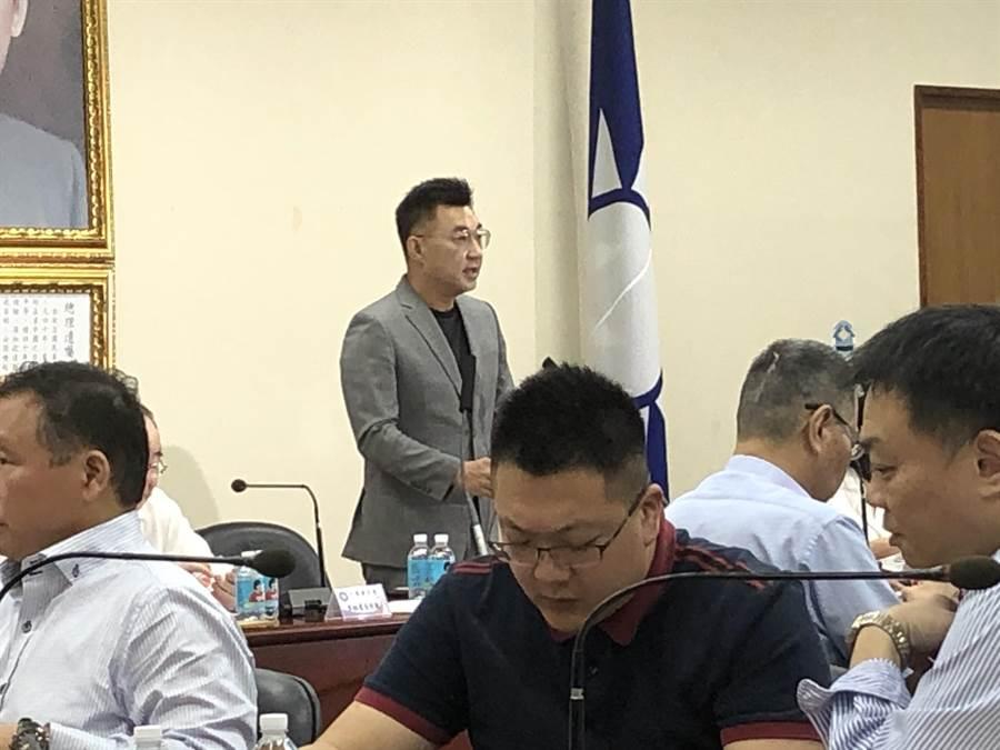 國民黨主席江啟臣下午在中常會一開始發表談話。(趙婉淳攝)